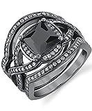 Black Rhodium Plated Sterling Silver Engagement Ring Bands, Bridal set W/ 2 Carat Black Princess Cut Cubic Zirconia 7