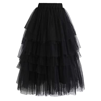 66862355f91b Chicwish Women's Black Tiered Layered Mesh Ballet Prom Party Tulle Tutu  A-line Midi Skirt