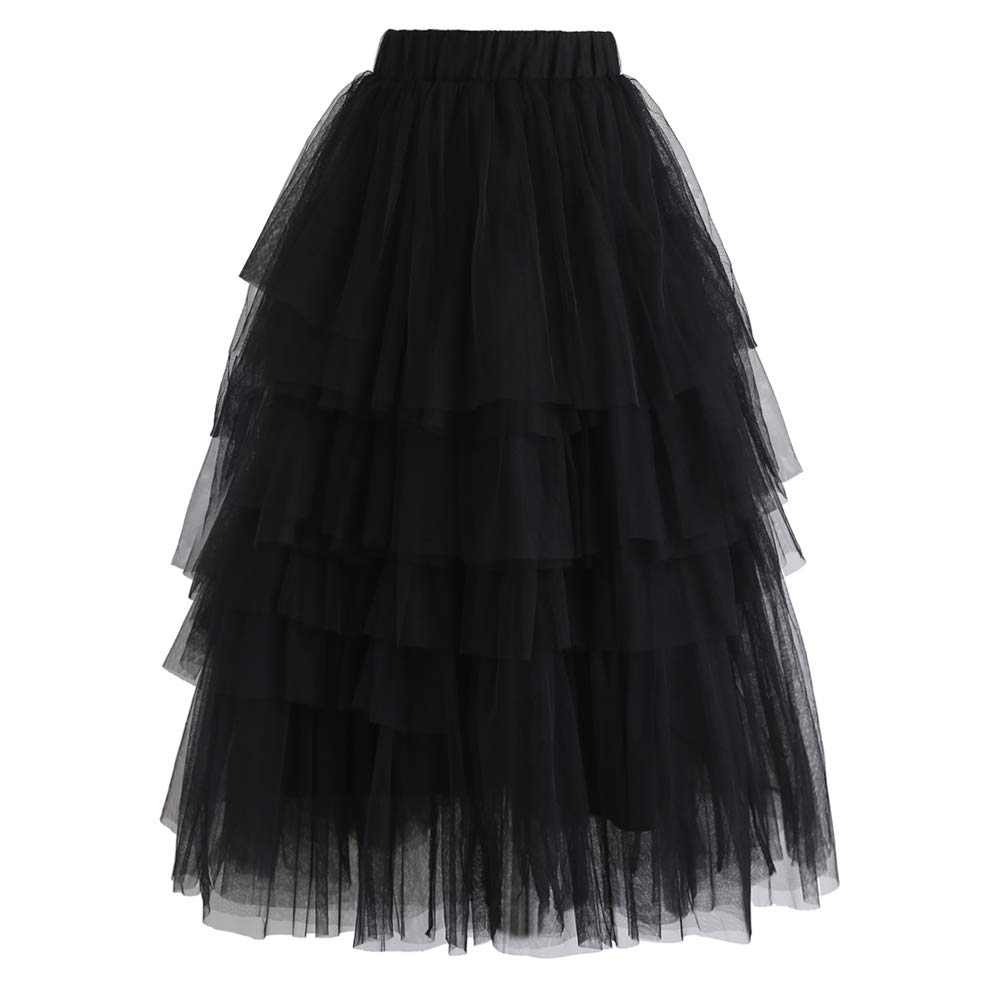 Chicwish Women's Nude Pink/Black Tiered Layered Mesh Ballet Prom Party Tulle Tutu A-line Midi Skirt