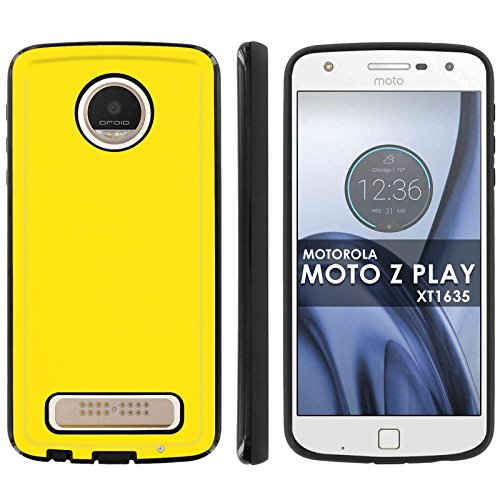 [Mobiflare] Slim Anti-Shock Designer Phone Case for Motorola Verizon MOTO [Z Play] Droid XT1635 2017 [Black] Case [Yellow Print]