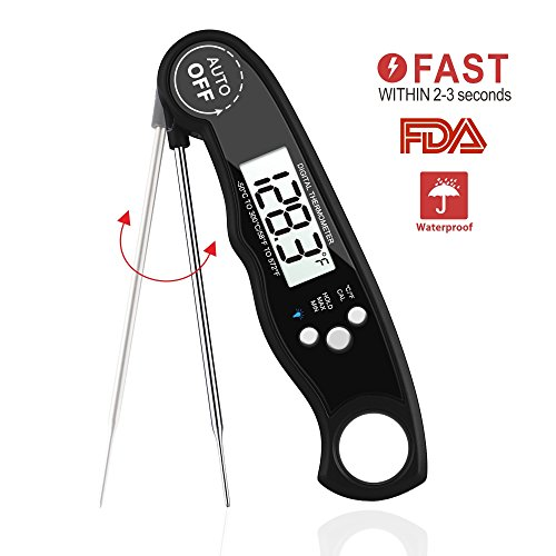 Digital Meat Thermometer  Waterproof Instant Read Thermometer With Foldable Magnetic Probe Cooking Thermometer And Backlight Functions For Food  Candy  Kitchen  Tea  Milk  Bbq Grill Smokers