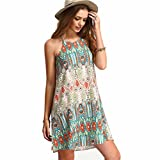 Alimao Women Retro National Wind Loose Round Neck Sling Sleeveless Dress (M)