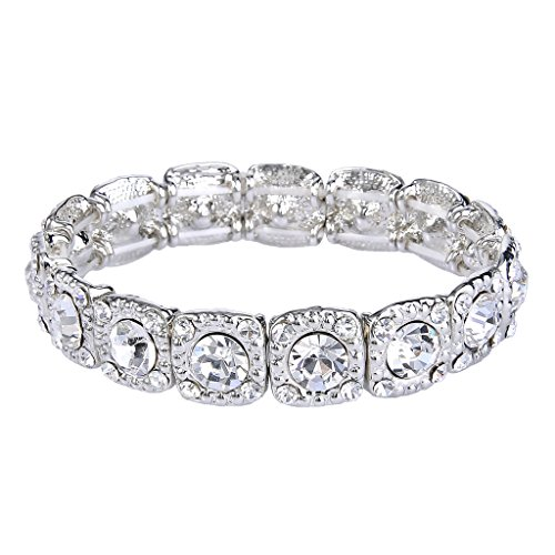 Austrian Crystal Stretch Bracelet (EVER FAITH Women's Round Austrian Crystal Bridal Elastic Stretch Bracelet Clear Silver-Tone)