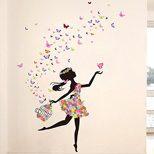 Wall Art Cage (SWORNA Nature Series SN-66 Lovely Dancing Flower Girl with Birds Cage Removable Vinyl DIY Wall Art Mural Sticker Decal Decor for Bedroom/Living Room/Playroom/Store/Home/HallwayKindergarten 68