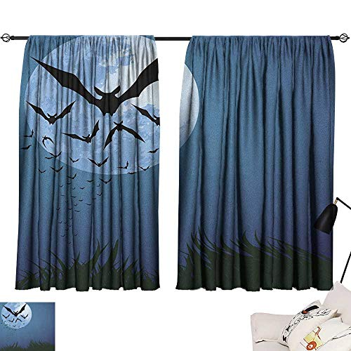 Halloween Blackout Curtains A Cloud of Bats Flying Through The Night with a Full Moon Fall Season 70%-80% Light Shading, 2 Panels,63