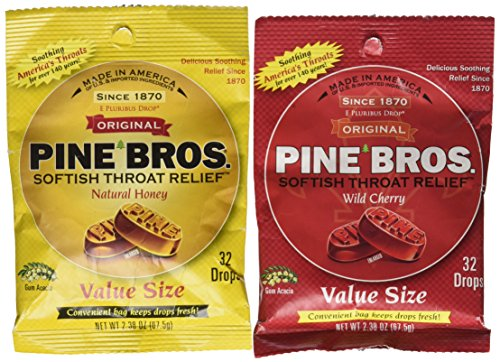 (Pine Bros. Bundle-Two Flavors Softish Throat Drops, Natural Honey/Wild Cherry, 64 Count)