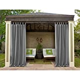 Macochico Outdoor Curtains Panels Gray 52W x 96L Heat Insulated Privacy Protection Sun Block Tab Top Waterproof Blackout Drapes for Patio Garden Backyard Gazebo Porch (1 Panel)