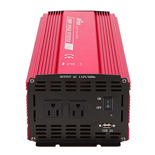 UFire 2000W Power Inverter DC 12V to 110V AC Car Converter with 2 AC Outlets 2A USB Car Adapter -Red by UFire (Image #4)