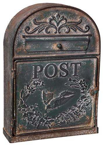 - Antique Rustic Style Large Metal Post Mail Box, Weathered Green Finish, Wall Mounting Design, 9 x 13 Inches