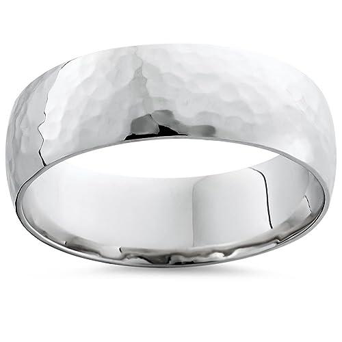 Lujo libre grabado boda anillos de boda oro blanco Unisex 18 ct martillado 5 mm banda: Amazon.es: Joyería