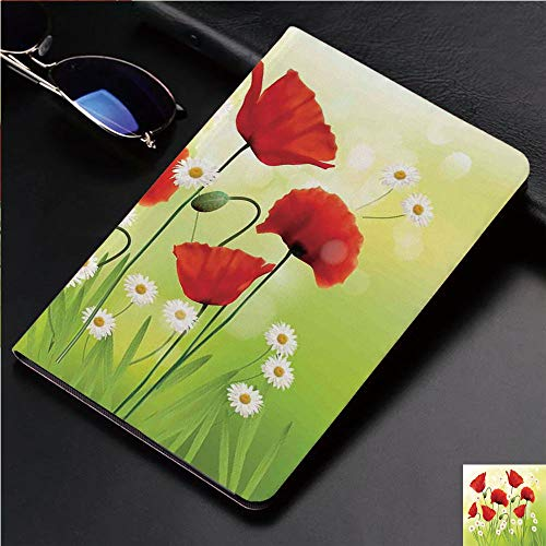 - Case for iPad 2 iPad 3 iPad 4 TPU Leather Rotating Smart Stand Tablet Case for iPad 2/3/4,Poppies and Daisies on Grass Flourishing Nature