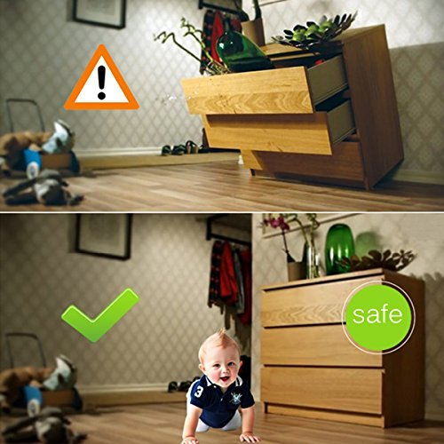 Anti-Tip TV & Furniture Strap, Cunina Baby Safety Anchor Strap for Baby Proofing & Flat Screens, Pack of 2(with 4 Corner Guards and 4 Outlet Plugs) by Cunina (Image #3)