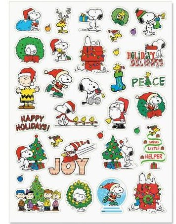 Snoopy And Woodstock Christmas.Peanuts Characters Snoopy Woodstock Charlies Brown Lucy Christmas Stickers 34 Stickers