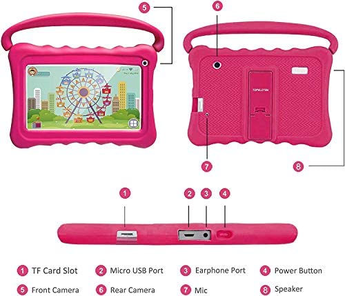 Tablet For Kids,Kids Tablet 7 Android Kids Tablets For Toddlers Kids Pre-Installed Learning Toy Tablet IPS Eye Protection WiFi Camera Google Play Store 1GB+16GB Parent Control With Shockproof Case