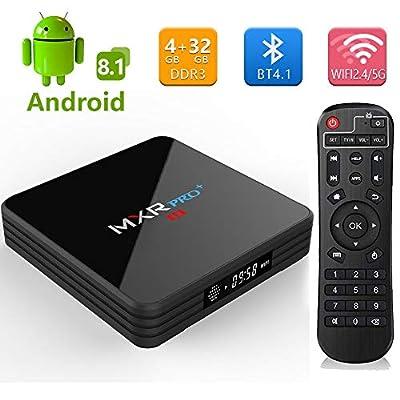 Android 8.1 TV Box,2019 MXR Pro + 4G DDR3 32G EMMC Flash RK3328 Quad Core Processor True 4K Playing Full HD with 5G/2.4G Dual WiFi BT4.1 USB3.0