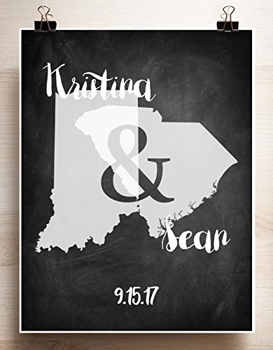 Chalkboard look Guest book alternative Custom Personalized two states house divided print with ampersand State House Divided