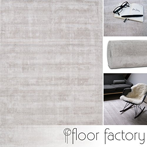 Moderner Teppich Lounge beige creme 10x10cm Muster - edler Designer Teppich im Vintage Look