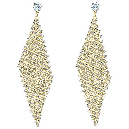 LY8 Fashion Women Crystal Lightweight Diamond Shape Mesh Wave Statement Drop Earrings Gold Tone