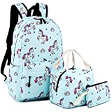School Backpack for Girls Cute Bookbag Laptop School Bag for Teen Girls Waterproof (Unicorn-Blue)