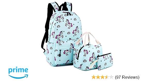b02a868ce16f Amazon.com  School Backpack Girls Cute Bookbag Laptop SchoolBag for Teens Boys  Kids Waterproof (Unicorn-Blue)  Computers   Accessories