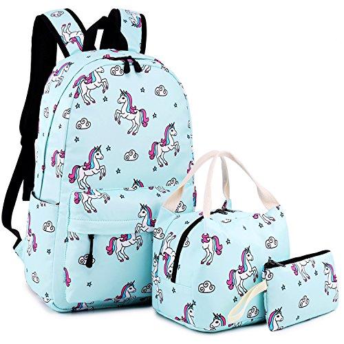 School Backpack for Girls Cute Bookbag Laptop School Bag for Teen Girls Waterproof (Unicorn-Blue)