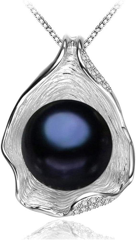 Poapk Collar con Colgante De Concha De Perlas De Agua Dulce Natural De Plata Esterlina 925 Boho-Black_Silver_Shell