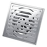 Stainless Steel Square Anti-odor Bathroom Floor Drain Shower Drainer Large Caliber ( Size : 150*150mm )