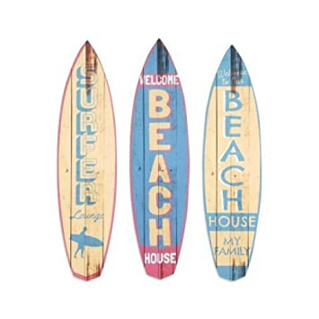 CAPRILO Set de 3 Adornos Pared Decorativos de Madera Tablas Surf. Cuadros y Apliques. Regalos Originales. Decoración Hogar. 47.5 x 12 x 0.8 cm.