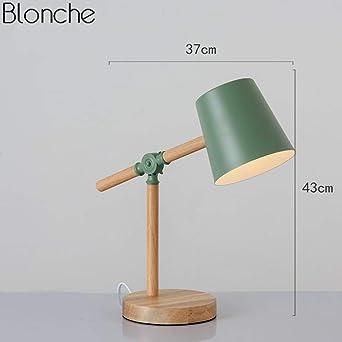 Lámpara de mesa de madera Lámpara de escritorio de hierro simple ...