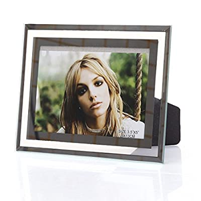 3.5x5-inch Glass Picture frame for Home Decor,Horizontal or Vertical Display - Easel back for tabletop display,horizontal or vertical Holds one 3.5x5 photo,put your love on display for all to see Silverplated finish with a reflective look - picture-frames, bedroom-decor, bedroom - 51r89ydfwmL. SS400  -