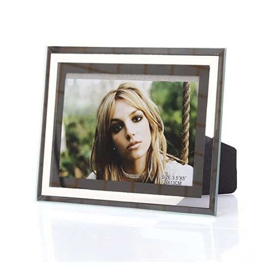 3.5x5-inch Glass Picture frame for Home Decor,Horizontal or Vertical Display - Easel back for tabletop display,horizontal or vertical Holds one 3.5x5 photo,put your love on display for all to see Silverplated finish with a reflective look - picture-frames, bedroom-decor, bedroom - 51r89ydfwmL. SS570  -