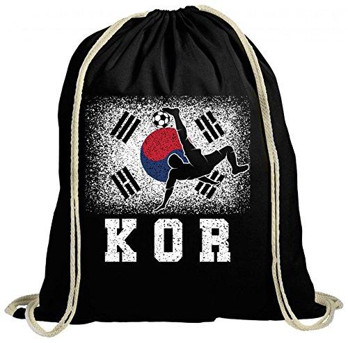 ShirtStreet Wappen Fußball WM Fanfest Gruppen Fan natur Turnbeutel Rucksack Gymsac Korea Football Player Schwarz Natur kDawzXTpZz