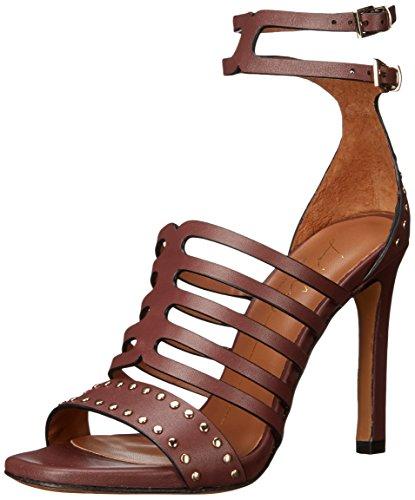 Lola Cruz Women's Double Buckle Ankle Strap Sandal, Burgundy, 38 EU/8 M US Lola Ankle Strap Sandals
