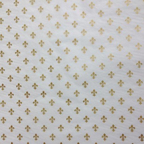Gift Wrap Tissue - Gold Fleur de Lis symbols on white tissue paper (30 (Fleur De Lis Paper)