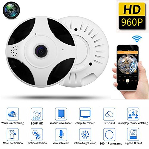 urity Home Network Dome Camera for Home Surveillance, Fisheye 360° Indoor Dome With Night Vision Motion Detection, Watching the Whole Room Without Blind Area ()