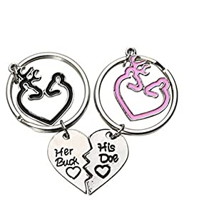 UNKE 2pcs/set Key Chain Couple' S Love Gift Deer and Heart Shape His and Her Idea Key Chain