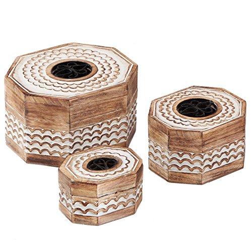 Valentine's Day Gift Decorative Wooden Set of 3 Jewelry Box Trinket Organizer Keepsake Box Multipurpose Accessories Collectible Storage - Mango Wood (2) (Trunk Chinese Lock)