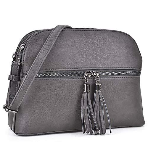 Lightweight Women Crossbody Bags with Tassel, Travel Shoulder Messenger Purse Medium Multi Zipper Designer Satchel (050-CHARCOAL GRAY)