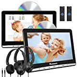 NAVISKAUTO 10.1' Dual Car DVD Players with 2 Headphones and Inhalation Drive Support Same/Different Video Playing, AV Out & in, Last Memory, Region Free (2 Same Headrest DVD Players)