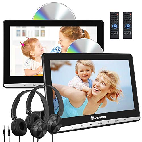 "NAVISKAUTO Upgraded 10.1"" Dual Car DVD Players with 2 Headphones Support AV Out & in Last Memory Region Free Digital Multimedia Rear-seat Entertainment System(2 Same Headrest DVD Players)"