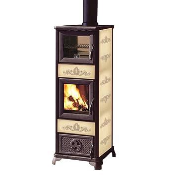 BLANCO estufa de Leña con Horno 7,2kw Crema Hogar fundido Calefacción 76596: Amazon.es: Hogar
