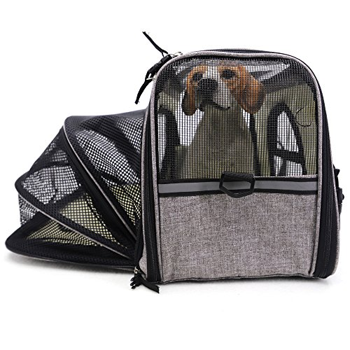 Pet Travel Carrier Airline Approved Premium Under Seat Dogs Cats - Soft Sided Pet Carrier Tote Bag Backpack Fleece Bed & Safety Lock(Grey) by okdeals (Image #5)