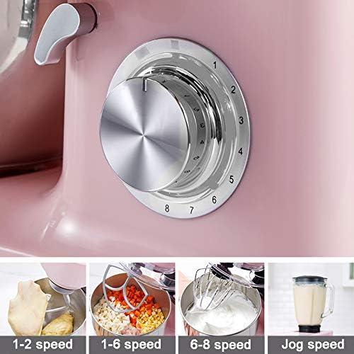 All-Metal Mixer, 8-Speed Electric Keukenmengkraan met deeghaken, Kloppers, Whisk en schenkschild 5L RVS Bowl, voor thuiskoks