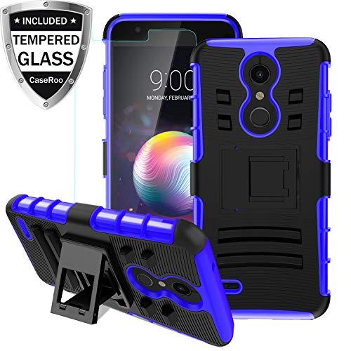 LG K30 Case,LG K10 2018/LG Xpression Plus/LG CV3 Prime/LG Harmony 2/LG Phoenix Plus/Premier Pro LTE Case w/Tempered Glass Screen Protector,Kickstand Heavy Duty Shockproof Protective Phone - Cover Lg Xpression