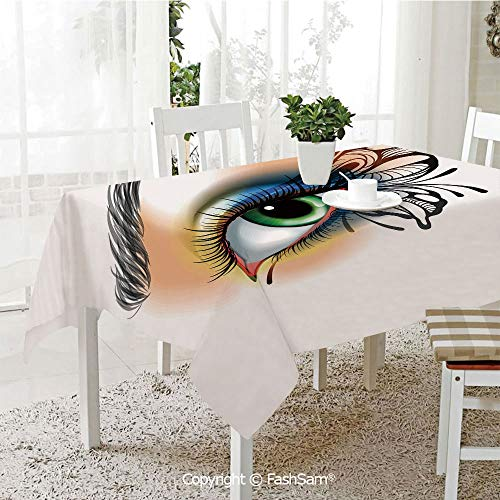 AmaUncle 3D Print Table Cloths Cover Fantasy Womans Eye Make Up Wing Colors Eyelashes Female Looking Decorative Table Protectors for Family Dinners (W55 xL72) ()