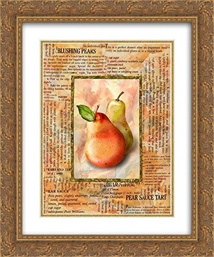 Blushing Pears 20x24 Gold Ornate Frame and Double Matted Art Print by White, Abby