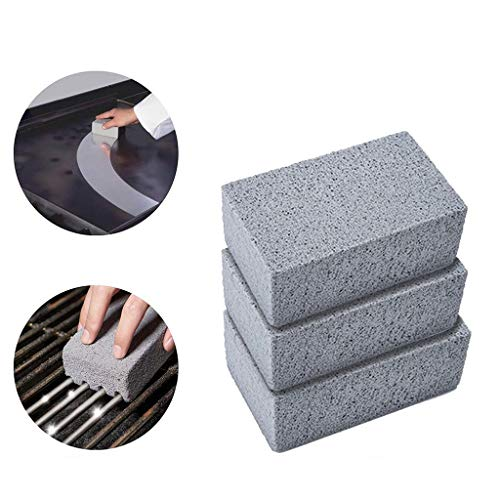 - Quaanti Griddle Grill Cleaning Brick Block - 3 Pack Reusable Magic Pumice Stone Cleaner for Safely and Quickly Cleaning Flat Top Grills or Griddles,Grills Grate for BBQ Grease & Rust (Gray)