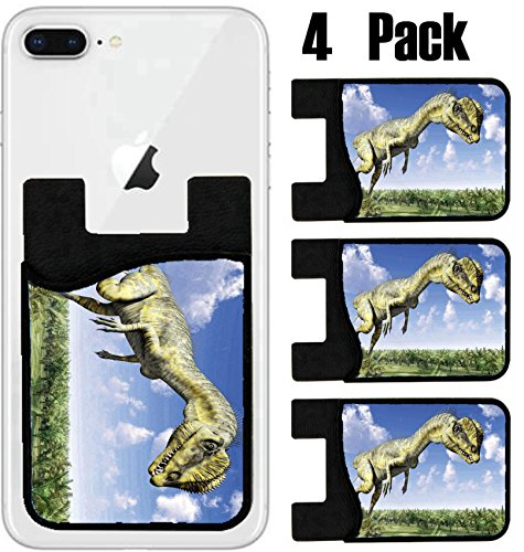 MSD Phone Card holder, sleeve/wallet for iPhone Samsung Android and all smartphones with removable microfiber screen cleaner Silicone card Caddy(4 Pack) IMAGE ID 36650697 Dinosaur Dilophosaurus by MSD