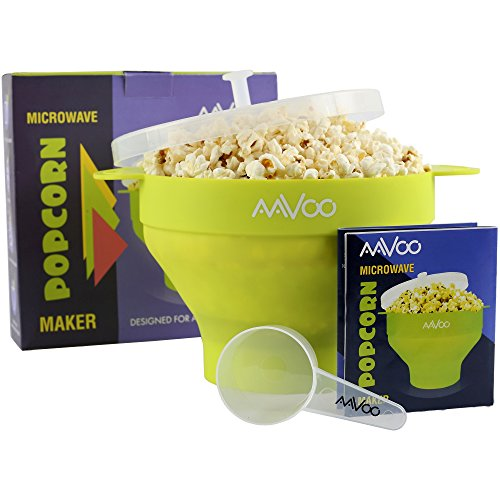 AAVOO Microwave Popcorn Popper – Premium Silicone Popcorn maker, BPA PVC Free - Hot Air Popcorn Popper with Lid and Handles for Your Safety - Measuring Spoon and Recipes Included