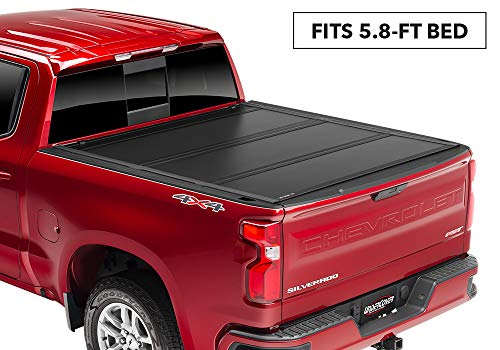 UnderCover Ultra Flex Hard Folding Truck Bed Tonneau Cover for 2019 GM 1500 | UX12020 | fits 2019 Chevrolet Silverado/GMC Sierra 1500 5.8ft Short Bed (New Body Style) Crew/Ext Matte Black Finish